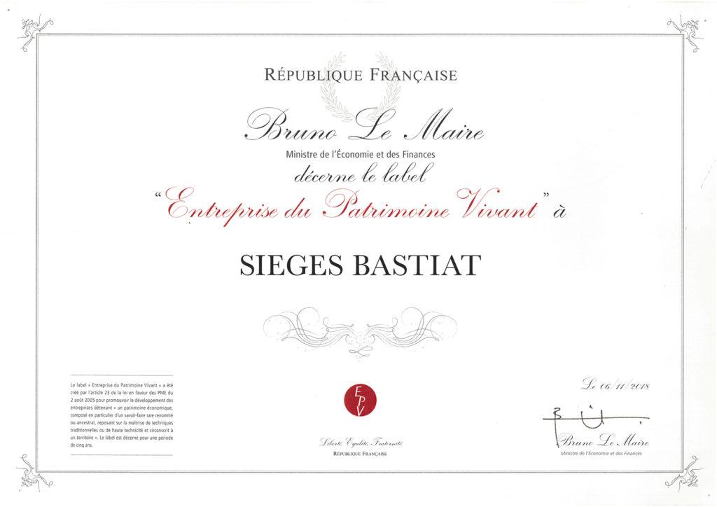 Diplome Label EPV Bastiat